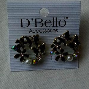 Black Enamel flowers Pearls Rhinestone Earrings